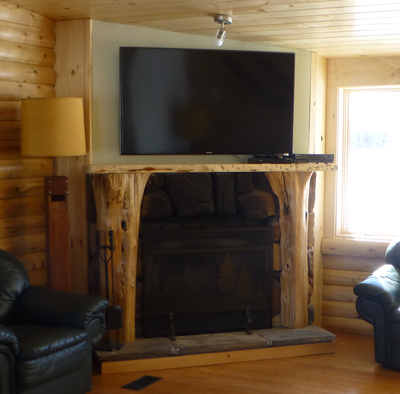 Wood Fireplace and 55-inch TV