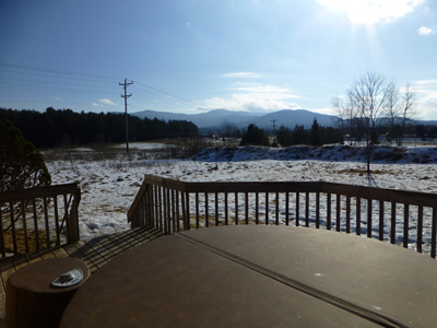 Mountain views from the hot tub on the deck