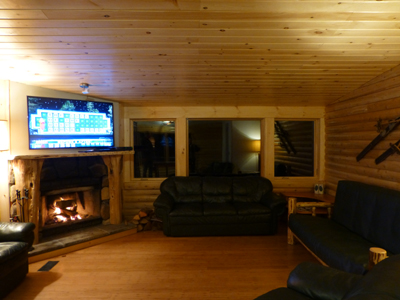 Wood Fireplace, 55-inch LED TV and Mountain Views